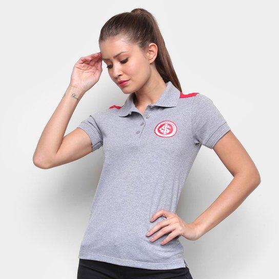 Camisa Polo Internacional Escudo Mescla Feminina - Cinza