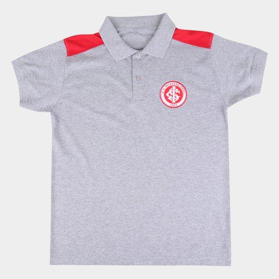 Camisa Polo Internacional Juvenil Hat Trick - Cinza
