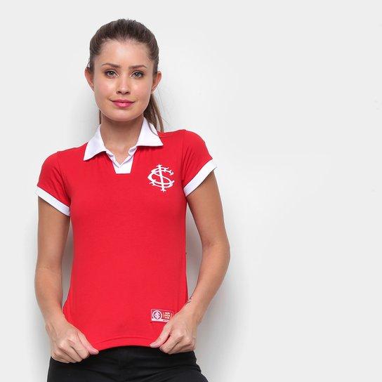 Camisa Polo Internacional Retrô Mania Feminina - Vermelho+Branco