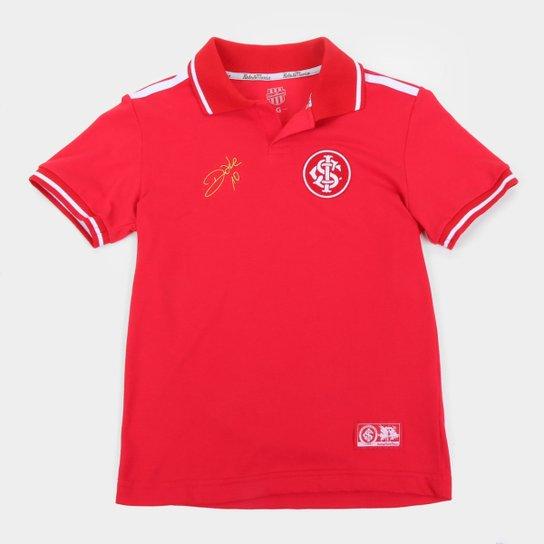 Camisa Polo Juvenil Internacional D'Alessandro Stripe II RetrôMania - Vermelho