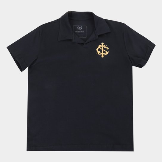 Camisa Polo Juvenil Internacional Gold Retrô Mania - Preto
