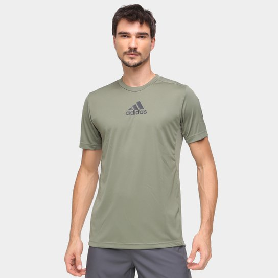 Camiseta Adidas 3 Stripes Designed To Move Masculina - Verde+Preto