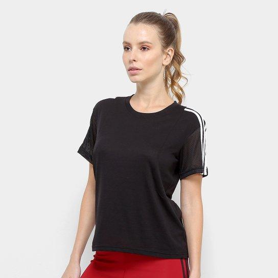 Camiseta Adidas 3S Mesh Sleeve Feminina - Preto