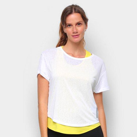Camiseta Adidas Adapt 2 em 1 Feminina - Branco+Amarelo