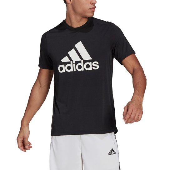 Camiseta Adidas D2M Logo Feelready Masculina - Preto+Branco