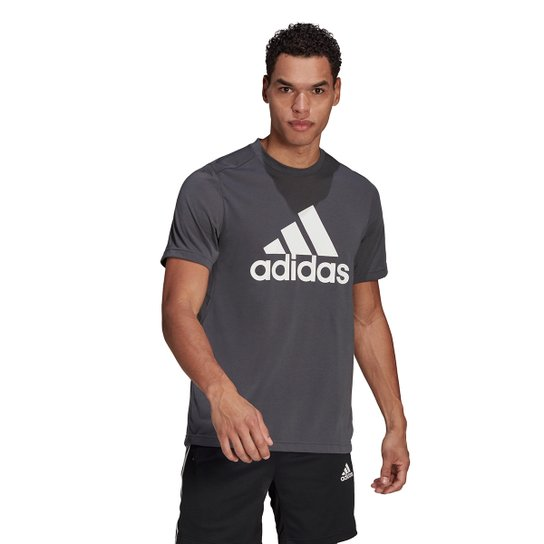 Camiseta Adidas D2M Logo Feelready Masculina - Cinza+Branco