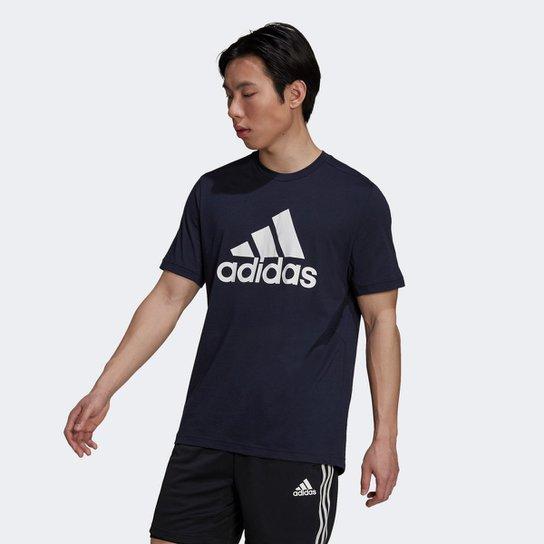 Camiseta Adidas D2M Logo Feelready Masculina - Marinho+Branco
