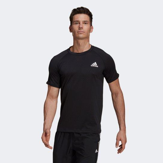 Camiseta Adidas D2M Seamless Masculina - Preto+Branco