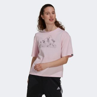 Camiseta Adidas Logo Florido Feminina