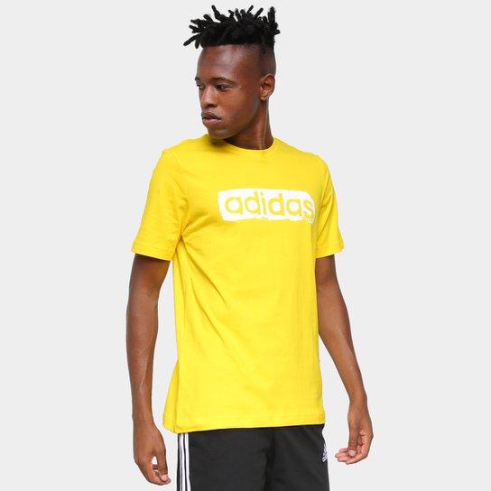 Camiseta Adidas Logo Linear Masculina - Amarelo