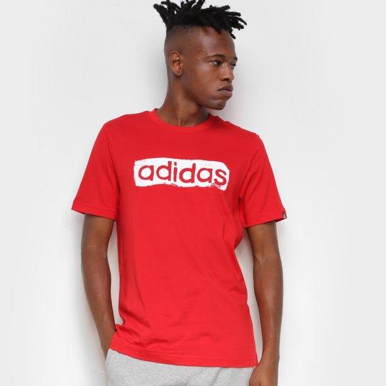 Camiseta Adidas Logo Linear Masculina - Vermelho+Preto