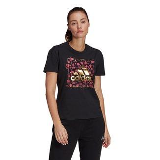 Camiseta Adidas Logo Metálico Floral Feminina