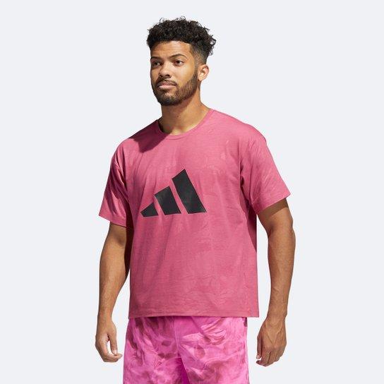 Camiseta Adidas Logo - Rosa