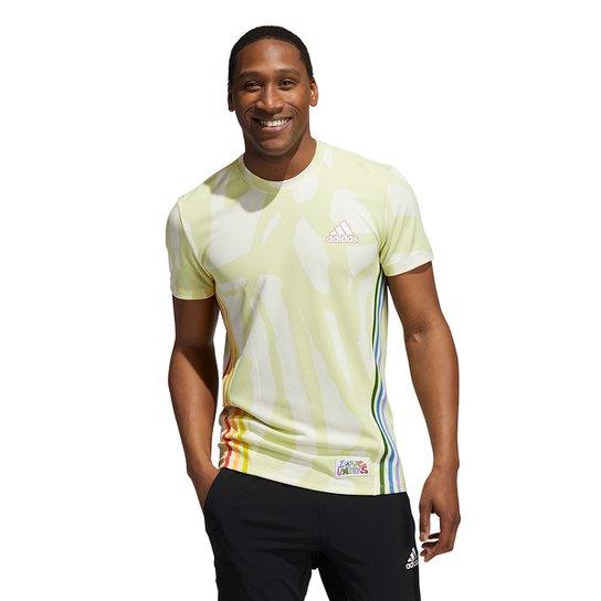 Camiseta Adidas Love Unites 3 Listras Masculina - Verde claro