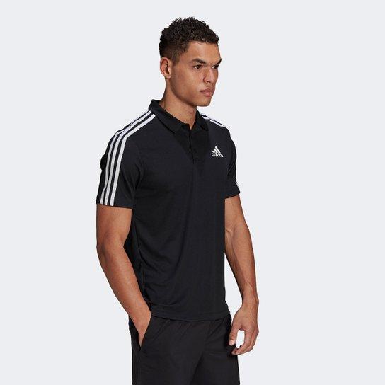 Camiseta Adidas Polo 3 Listras Designed To Move Masculina - Preto