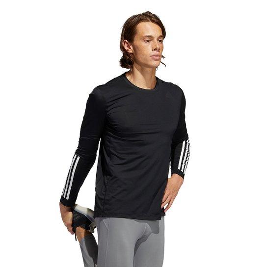 Camiseta Adidas Techfit 3 Listras Manga Longa Masculina - Preto
