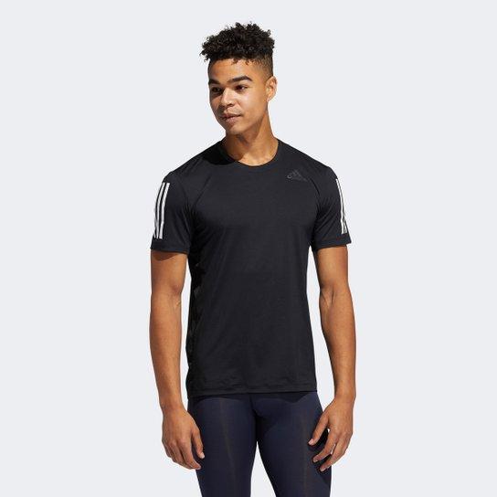 Camiseta Adidas Techfit 3 Listras Masculina - Preto