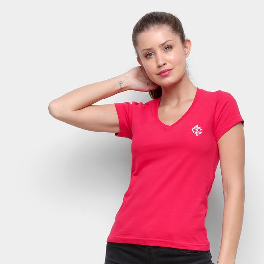 Camiseta Internacional Escudo Retrô Mania Feminina - Vermelho