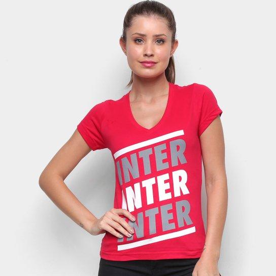 Camiseta Internacional Listras Retrô Mania Feminina - Vermelho