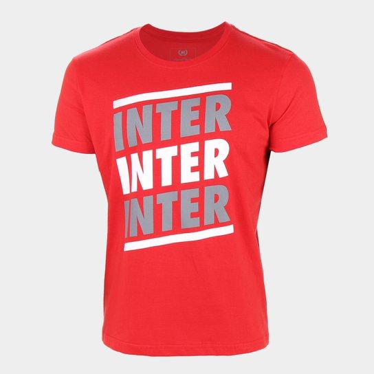 Camiseta Internacional Listras Retrô Mania Masculina - Vermelho