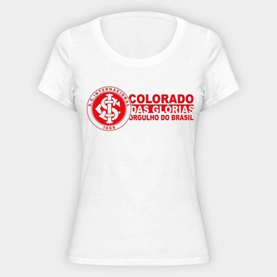 Camiseta Internacional Orgulho do Brasil Feminina - Branco