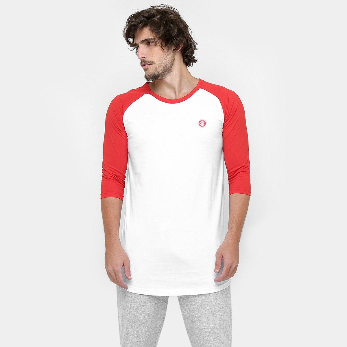 Camiseta Internacional S.C Manga Masculina - Branco e Vermelho ... 68d2c5cb0b0bc