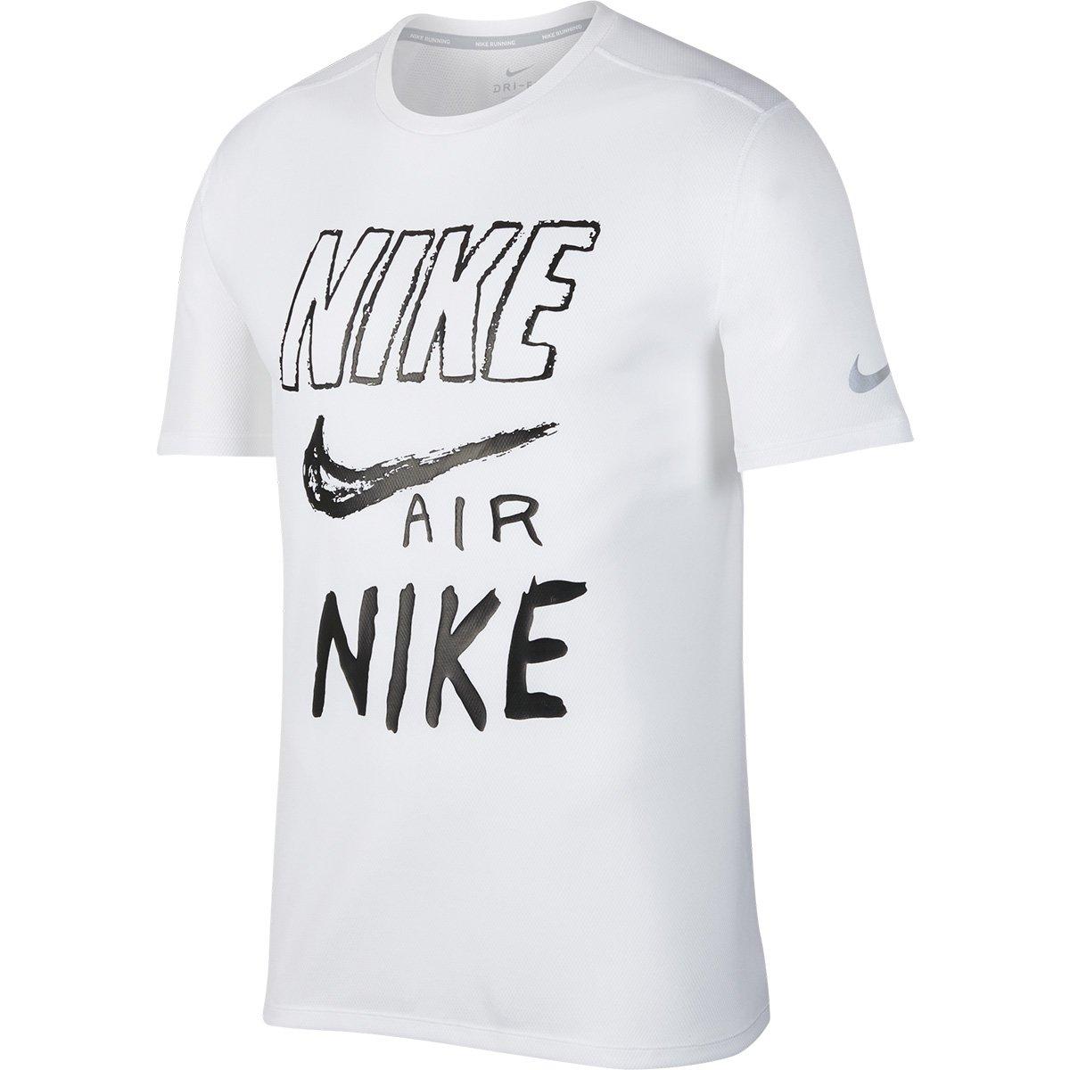 fb17fe569509e Camiseta Nike Brthe Run Gx Masculina - Branco e Preto - Compre Agora ...