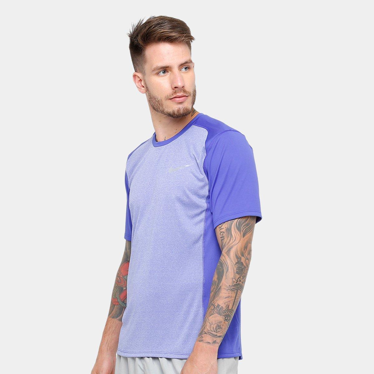 3853bd8181e29 Camiseta Nike Dri-Fit Miler SS Masculina - Roxo - Compre Agora ...
