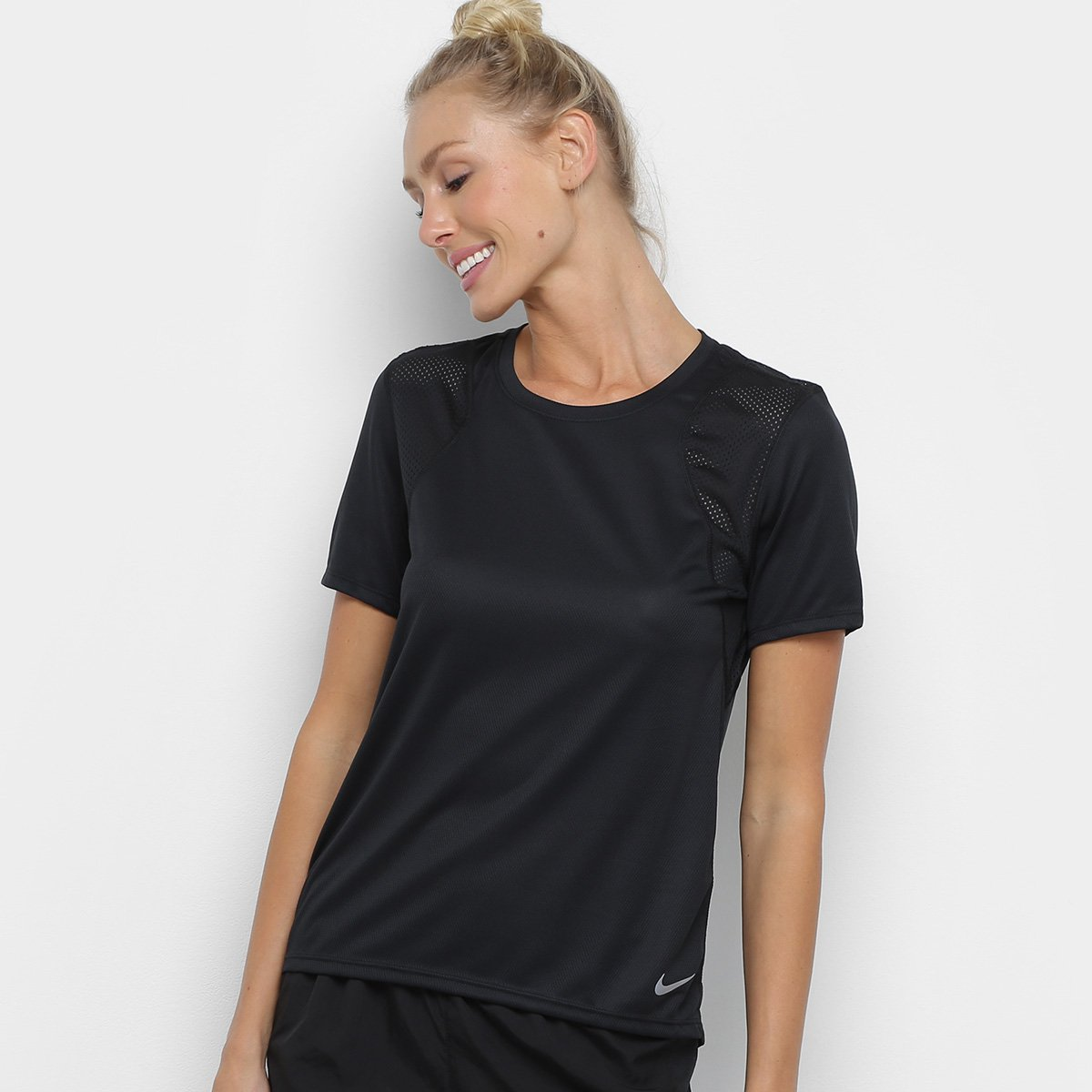 Preto Fit Camiseta Nike Dri Feminina Run eExoWdCQrB