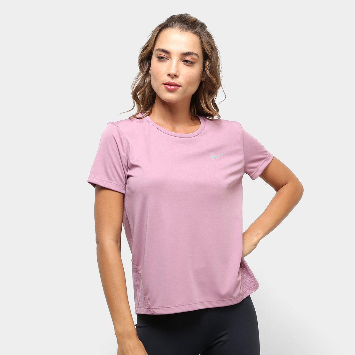 9674c328751de Camiseta Nike Miler Top Ss Feminina - Rosa Claro - Compre Agora ...