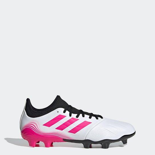 Chuteira Campo Adidas Copa Sense 3 - Branco+Rosa