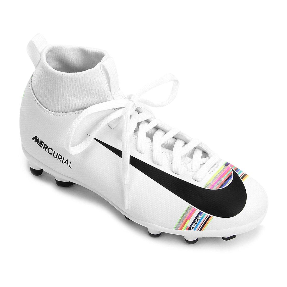 55ead153dc68b Chuteira Campo Infantil Nike Mercurial Superfly 6 Club CR7 FG - Branco e  Preto | Loja do Inter