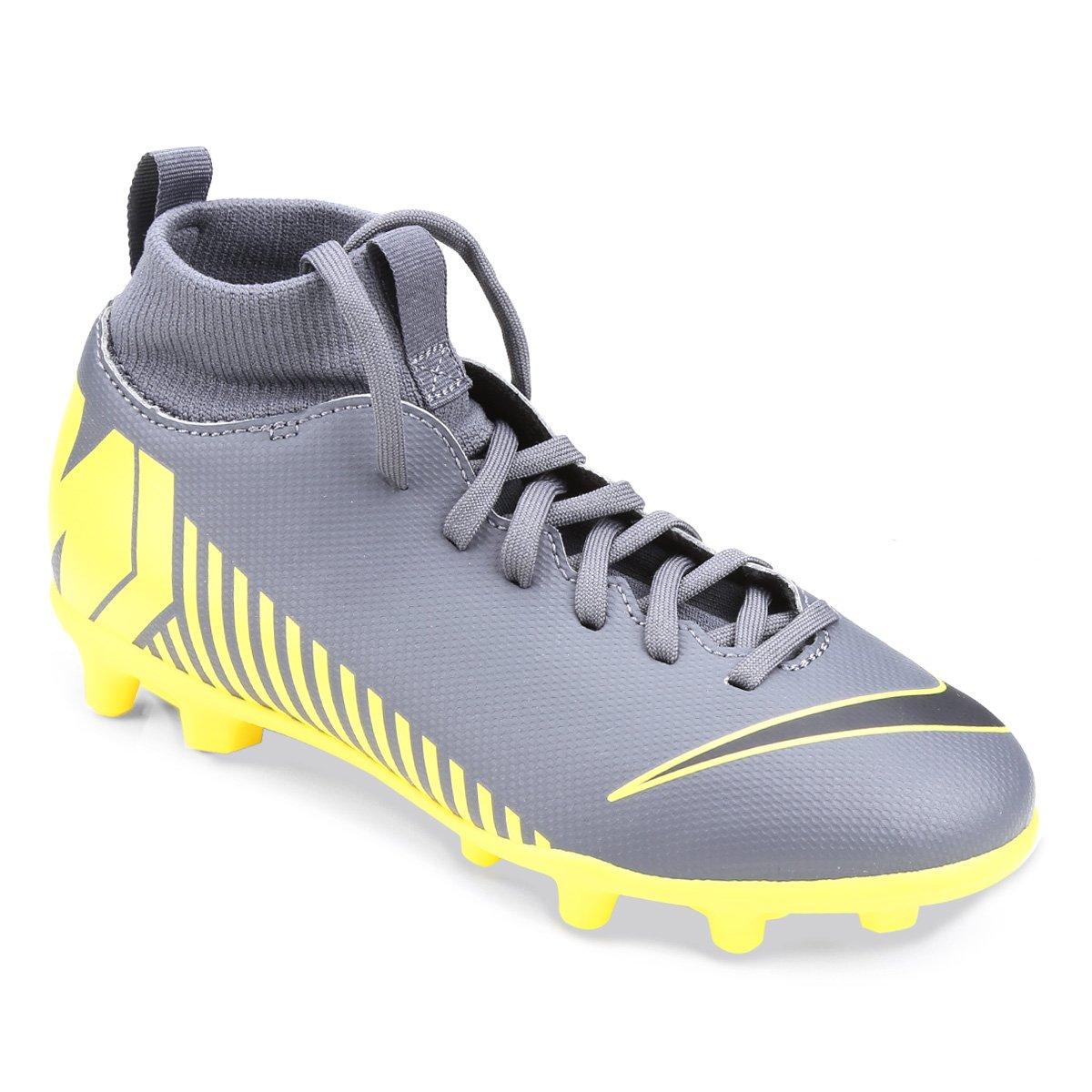 a7762e61e9196 Chuteira Campo Infantil Nike Mercurial Superfly 6 Club FG - Cinza e Amarelo  | Loja do Inter