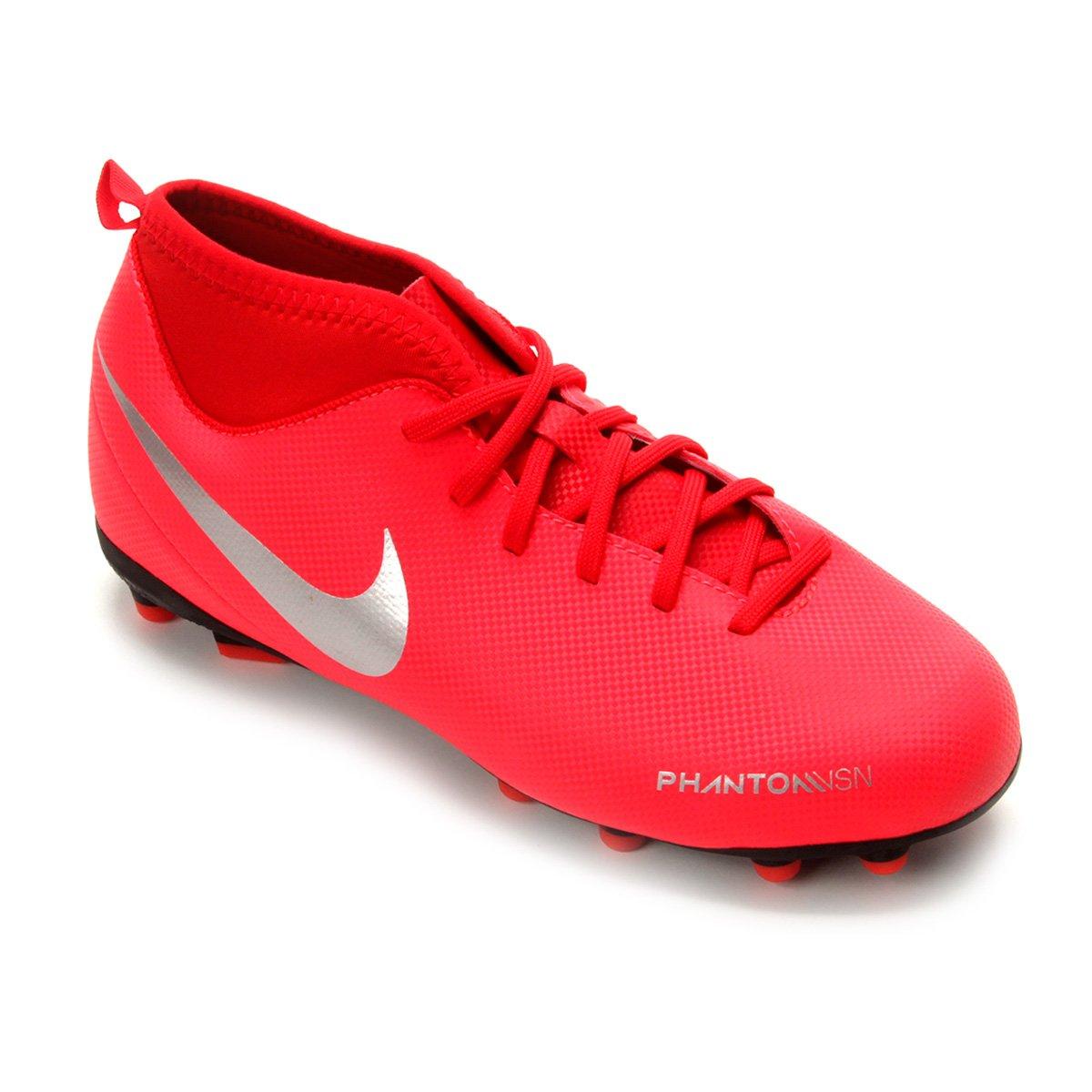 d0f6b80b4c Chuteira Campo Infantil Nike Phantom Vision Club DF FG - Vermelho e ...