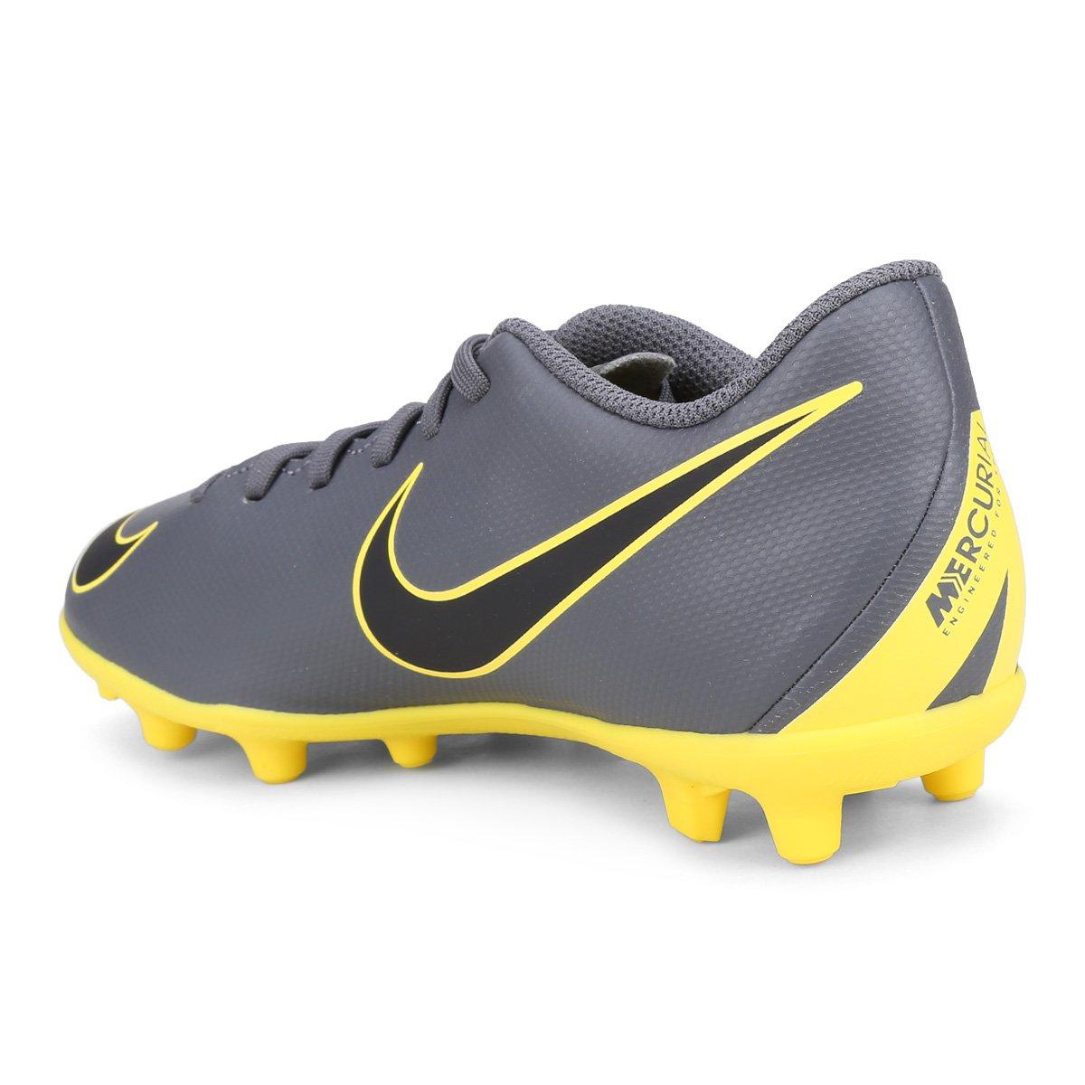 Chuteira Campo Infantil Nike Vapor 12 Club GS FG - Cinza e Amarelo ... 6d8a908197bd3