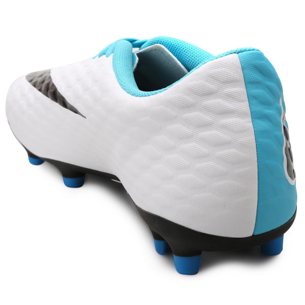 1e0e9dec98 Chuteira Campo Nike Hypervenom Phade 3 FG - Azul e Branco - Compre ...