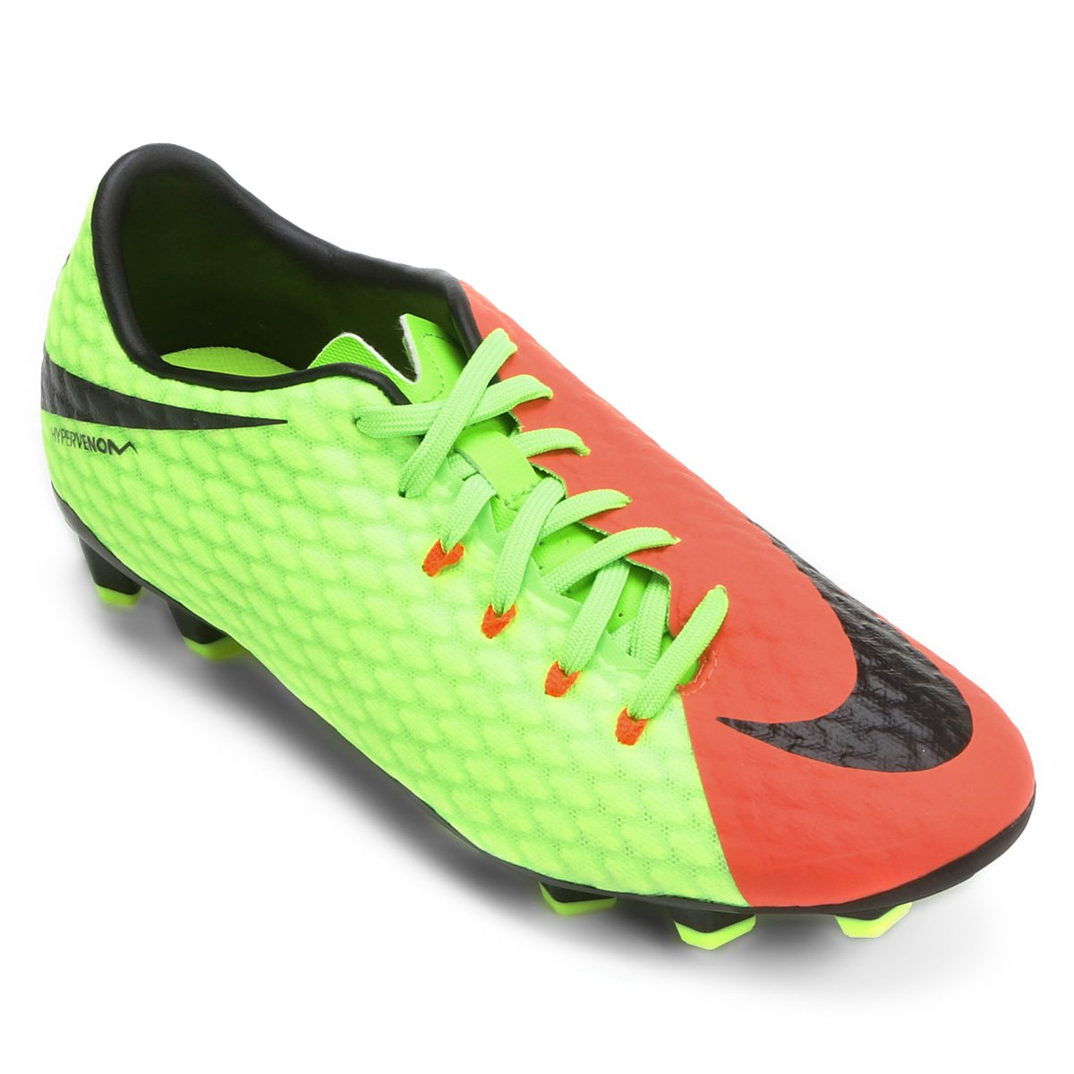 52e5a0dd65 Chuteira Campo Nike Hypervenom Phelon 3 FG - Laranja e Verde ...