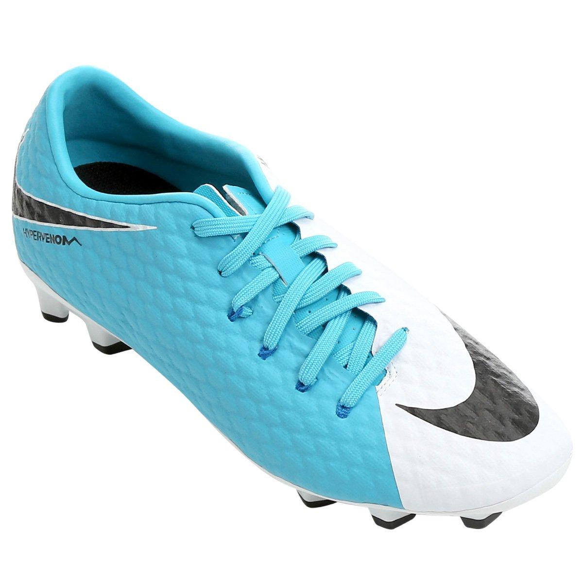 Chuteira Campo Nike Hypervenom Phelon 3 FG - Branco e Azul - Compre ... 16b9e60a56b76