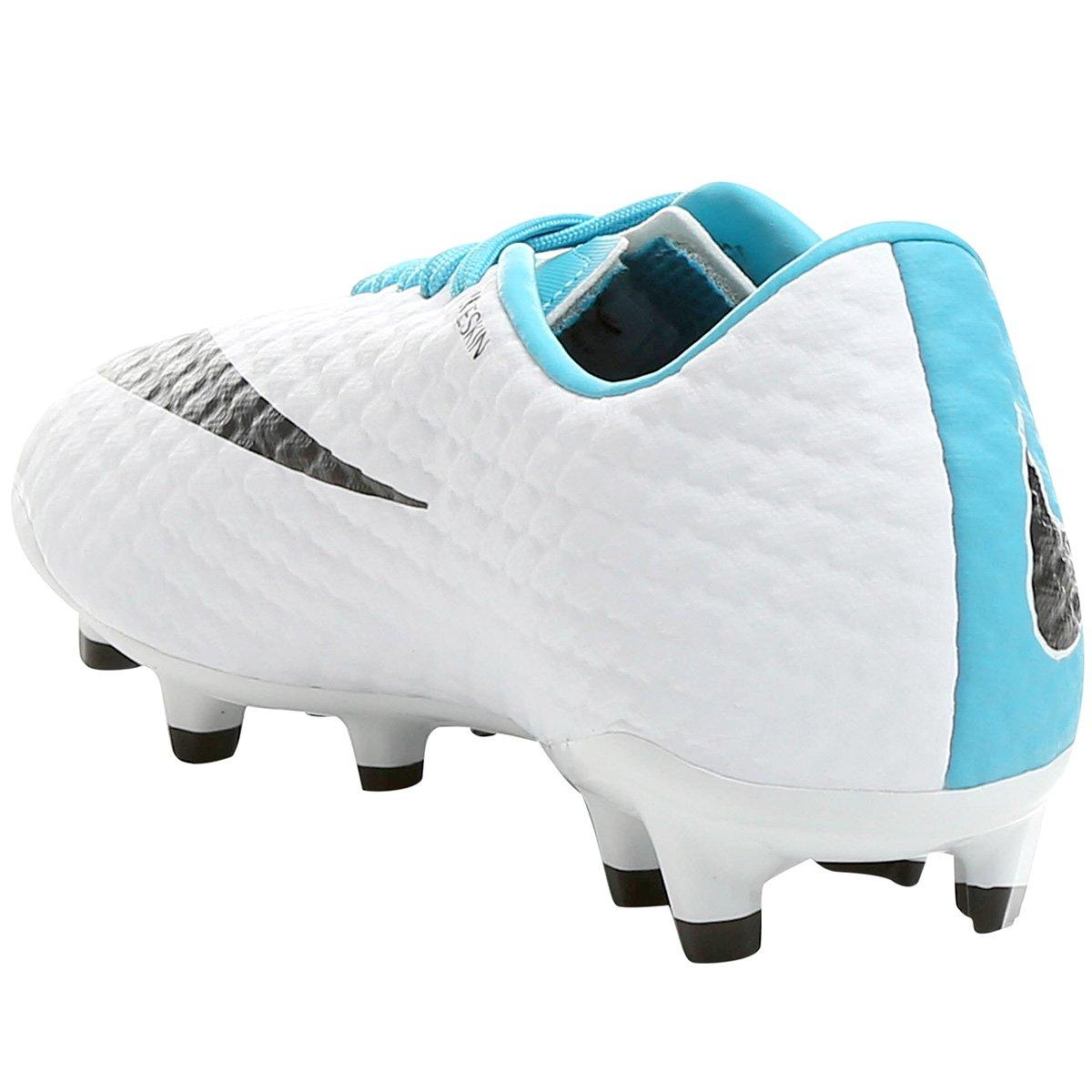 Chuteira Campo Nike Hypervenom Phelon 3 FG - Branco e Azul - Compre ... 2de8382897114