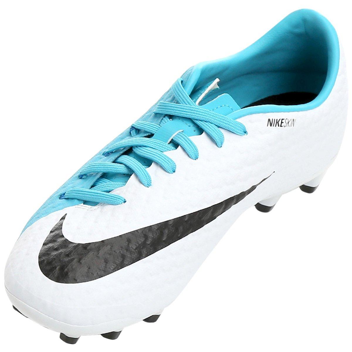 d989435404 Chuteira Campo Nike Hypervenom Phelon 3 FG - Branco e Azul - Compre ...