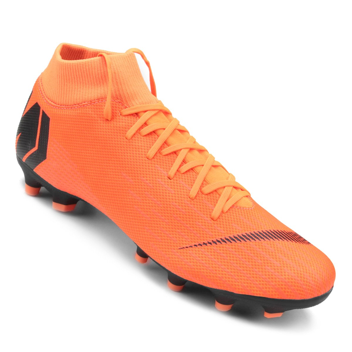 Chuteira Campo Nike Mercurial Superfly 6 Academy - Laranja e Preto ... 945e6e0b2a3ef
