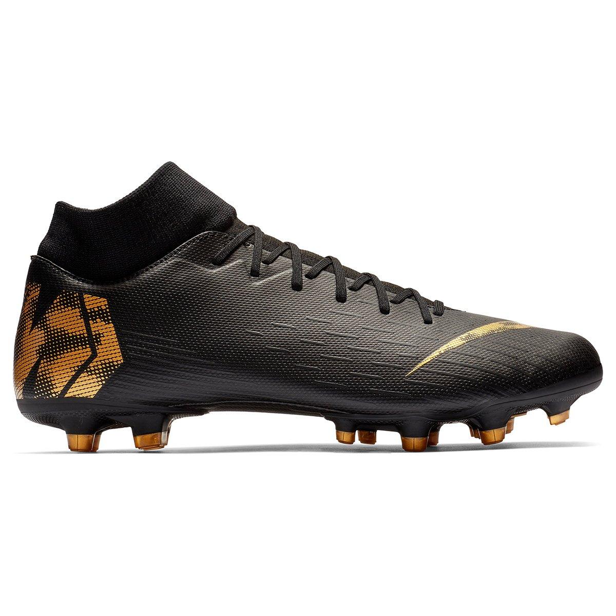 bff4cda3f8 Chuteira Campo Nike Mercurial Superfly 6 Academy - Preto e Dourado ...