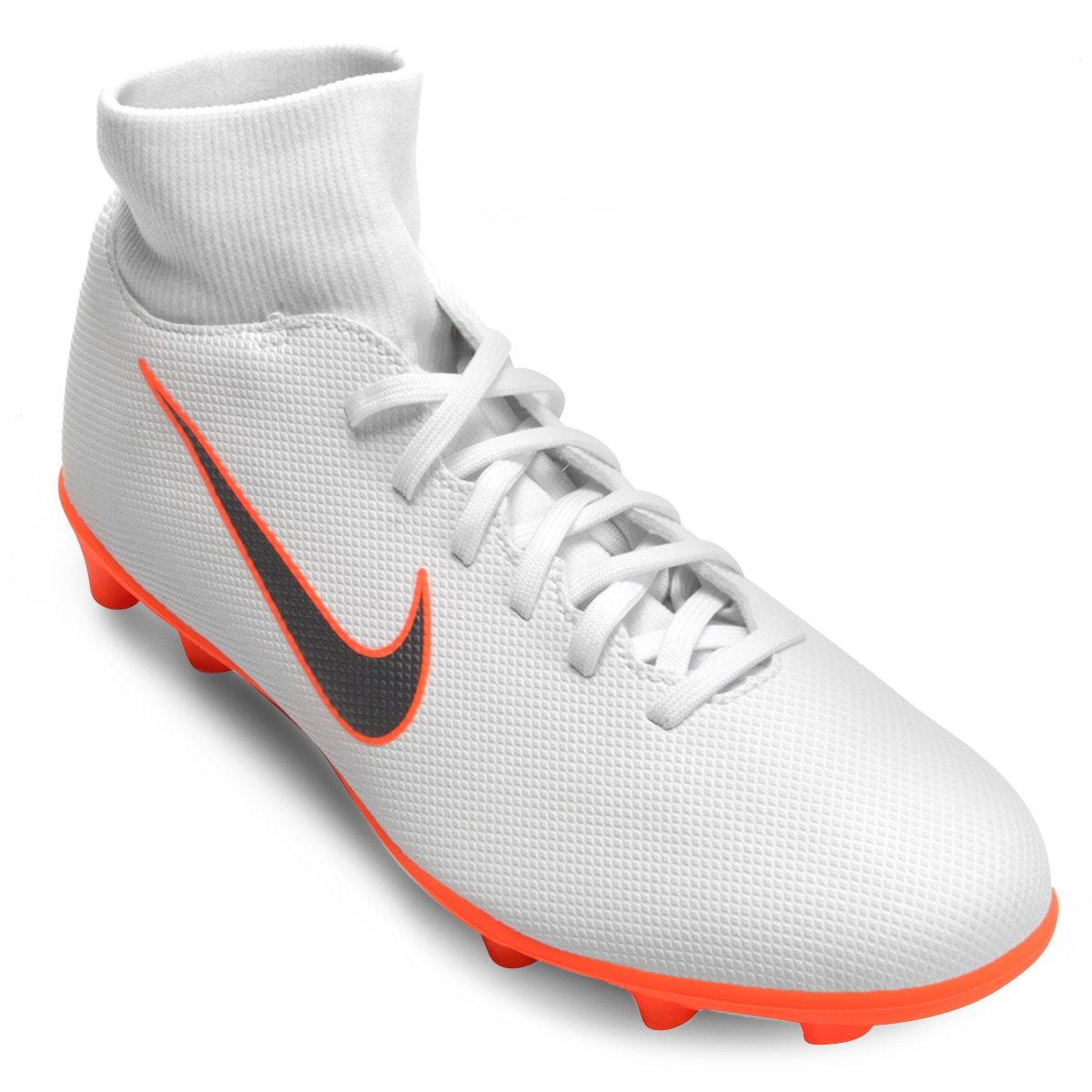 ddbcc17bd6904 Chuteira Campo Nike Mercurial Superfly 6 Club - Branco e Cinza | Loja do  Inter
