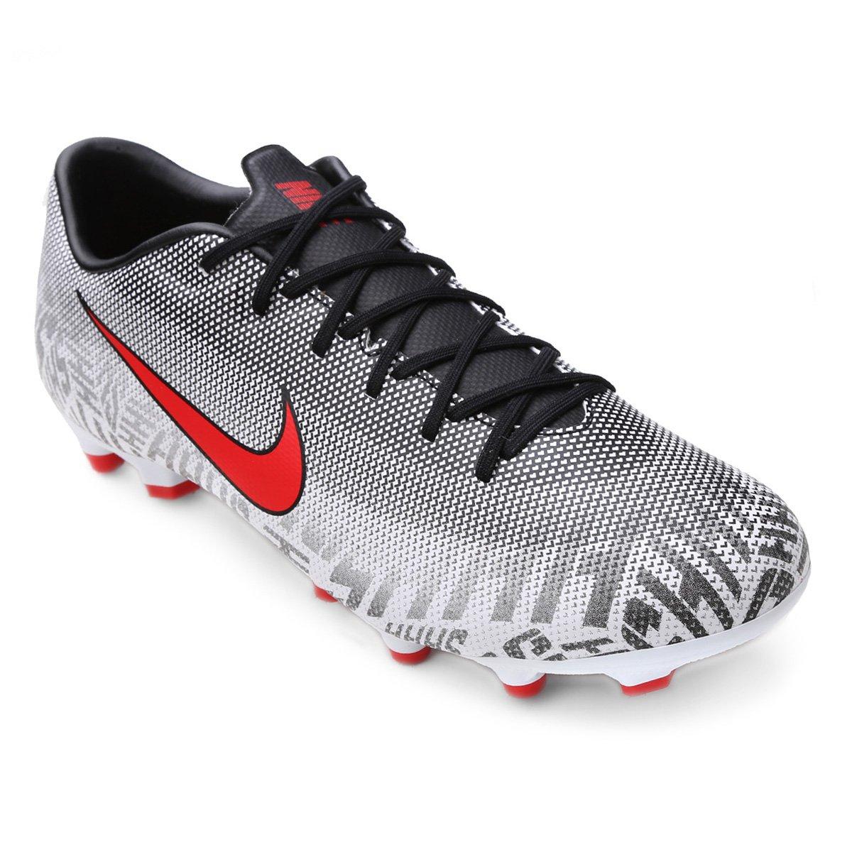 ddc698ef91 Chuteira Campo Nike Mercurial Vapor 12 Academy Neymar Jr FG - Branco e  Vermelho