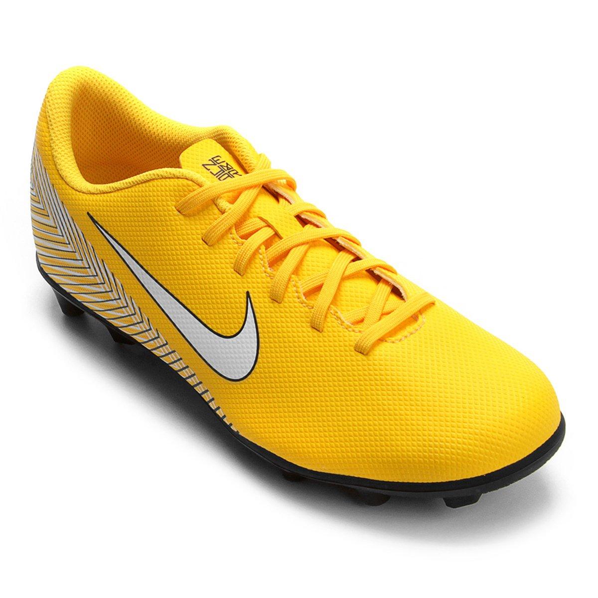 Chuteira Campo Nike Mercurial Vapor 12 Club Neymar FG - Amarelo e ... 3205f9ca0b84f