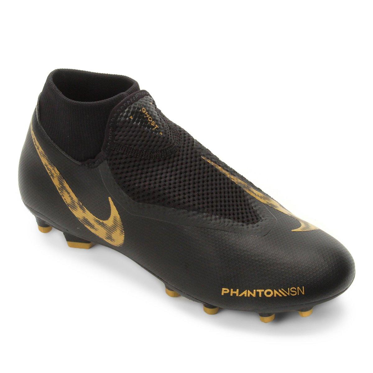 8761b2afba Chuteira Campo Nike Phantom Vision Academy DF FG - Preto e Dourado ...