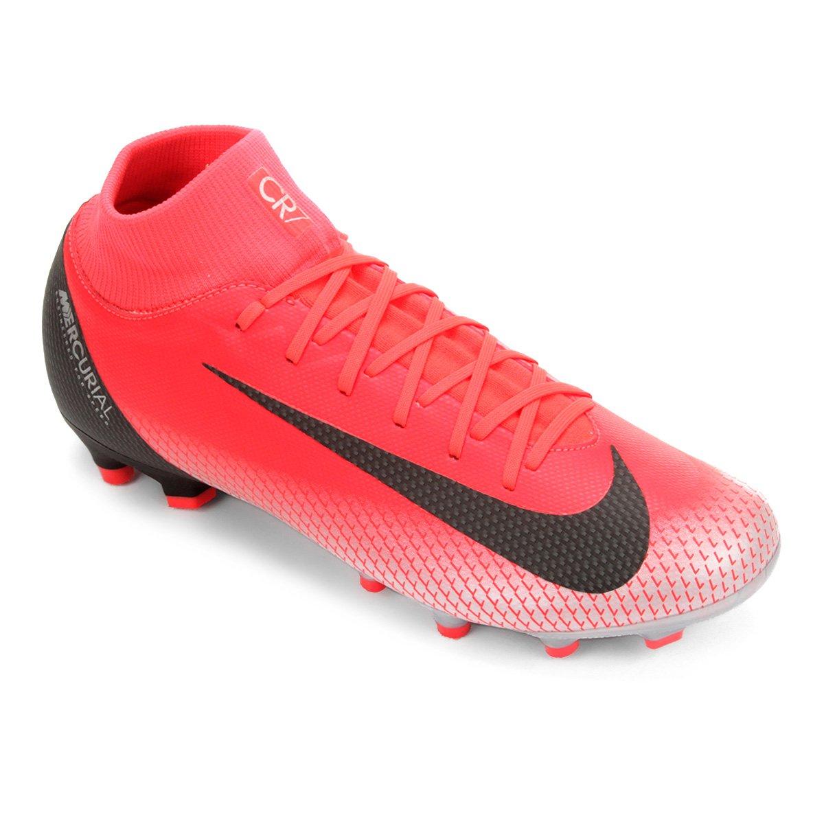 cd48894049 Chuteira Campo Nike Superfly 6 Academy CR7 FG - Vermelho e Cinza ...