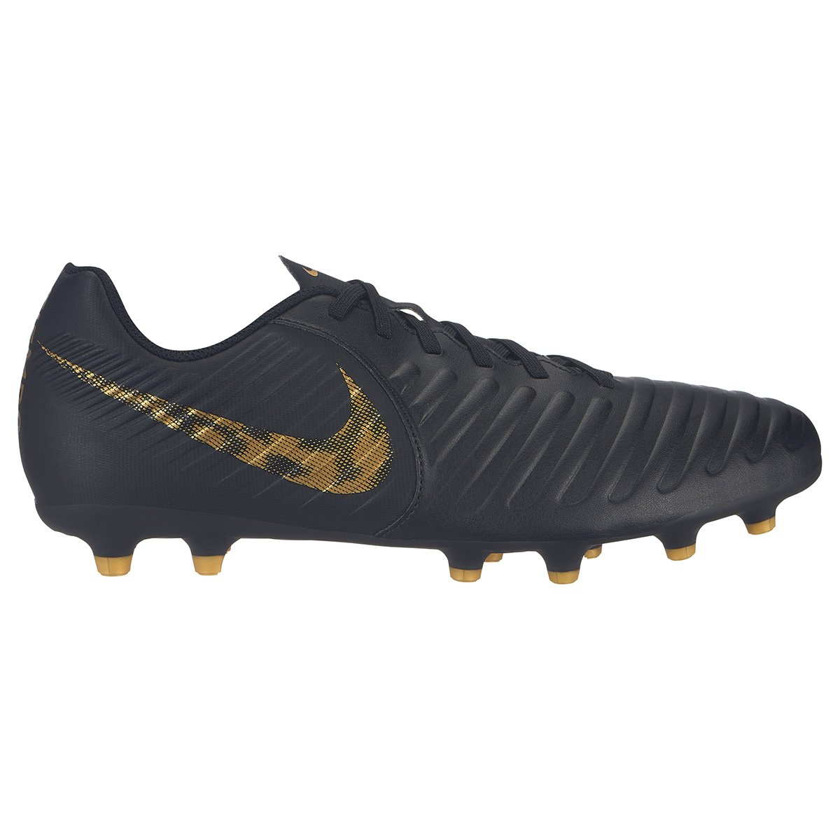 992eea5046ada Chuteira Campo Nike Tiempo Legend 7 Club FG - Preto e Dourado - Compre Agora