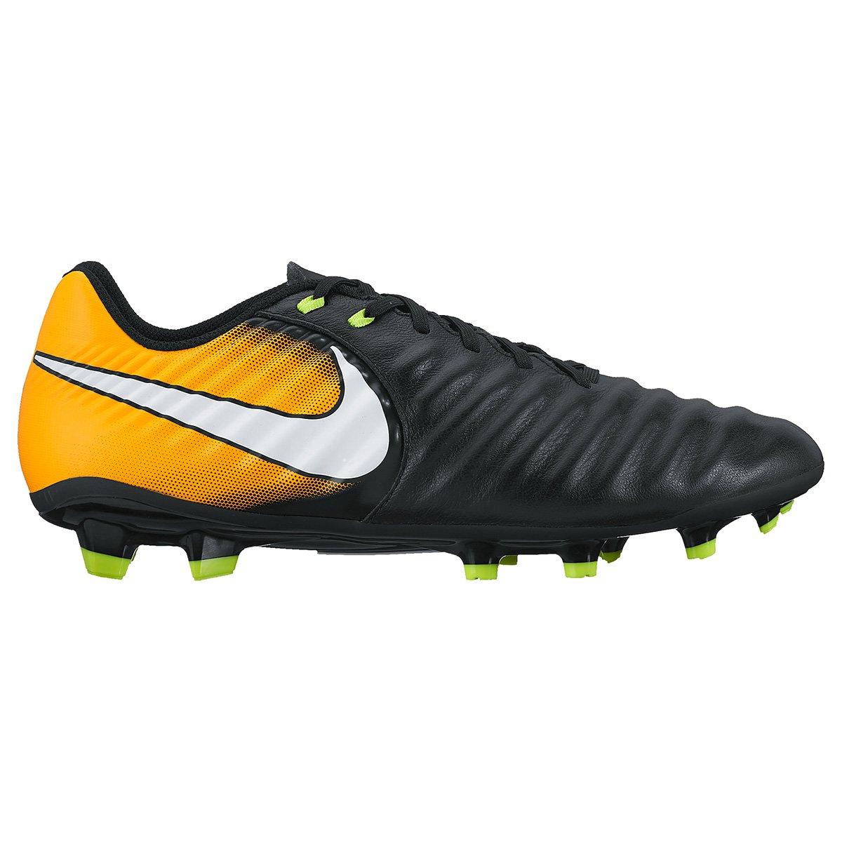 ac8cae1106 Chuteira Campo Nike Tiempo Ligera 4 FG - Preto e Laranja