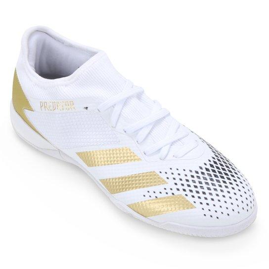 Chuteira Futsal Adidas Predator 20 3 Low IN - Branco+dourado